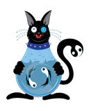 Black cat with a body an aquarium Royalty Free Stock Photography