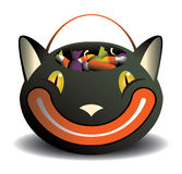 Black Cat candy basket Royalty Free Stock Image