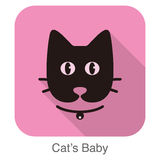 black cat cartoon face, flat animal face icon vector Stock Photo