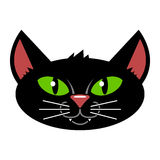 Black Cat Cartoon Isolated. A vector cartoon of a black cat face with green eyes Stock Photography