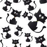 Black cat cartoon sample background. Seamless wallpaper, funny cynical black cats Royalty Free Stock Photo