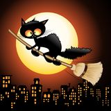 Black Cat Cartoon on Witch Broom. Fun Black Cat Cartoon looking scared and amazed because he is flying! Riding a Witch Broom, above the City on Halloween Night Stock Images