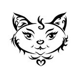 A black cat or cat tattoo. A black cat isolated on white or cat tattoo Royalty Free Stock Photos