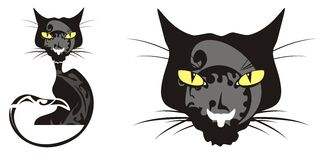 Black cat and cats head. Tribal black cat and cats head isolated on a white background Royalty Free Stock Photography