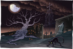 Black cat and cemetery in the night. Royalty Free Stock Photography