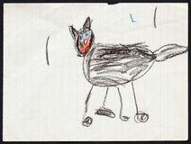 Black Cat. Child's Drawing. Royalty Free Stock Photos