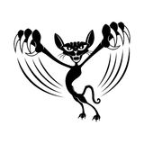 Black cat with claws. Black cat with claws on a white background Royalty Free Stock Photos