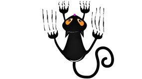 black cat. the cat climbs the wall stock illustration