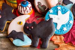 Black cat,crescent,ghost and bloody eye halloween cookies Royalty Free Stock Photography