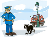 Black cat curse. Illustration of black cat which caused car accident and angry policeman Stock Photography