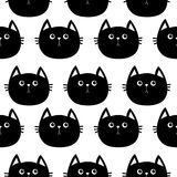 Black cat. Cute cartoon character. Baby pet collection. Seamless Pattern Wrapping paper, textile template. White background. Flat. Design. Vector illustration Royalty Free Stock Images
