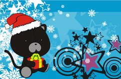 Black cat cute cartoon xmas claus costume background Stock Photos