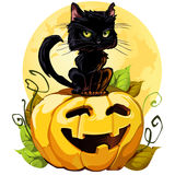 Black_cat. A cute black cat on a Halloween pumpkin. EPS8. Isolated on white. Each element grouped. White background Royalty Free Stock Image