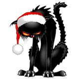 Black Cat Evil Angry Funny Character. Humorous Evil Black Cat, wearing a Christmas Santa Claus Hat, and looking very Angry and Fierce, and also something like Stock Image