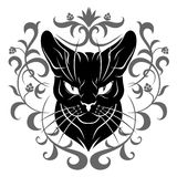 Black cat face decoration Royalty Free Stock Images