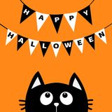 Black cat face head silhouette looking up to Bunting flags letters Happy Halloween. Flag garland. Party decoration element. Hangin. G text on rope thread. Flat Stock Photo