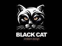 Black cat face logo - vector illustration Stock Images