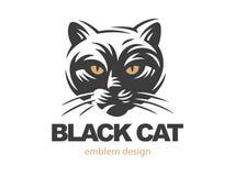 Black cat face logo - vector illustration Stock Photo