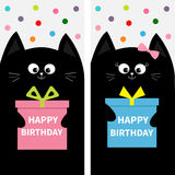 Black cat family couple with gift box bow. Flyer poster set. Cute funny cartoon character. Happy Birthday. Greeting card. Flat des Stock Photos