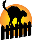 Black Cat on a fence. With a full moon in the background Royalty Free Stock Images