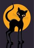 Black cat. Figure of black cat on yellow moon Stock Photography
