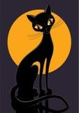 Black cat. Figure of black cat on yellow moon Royalty Free Stock Image