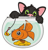 Black cat with fish. Black cat catching goldfish on a hook with lure Royalty Free Stock Photos