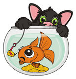 Black cat with fish. Black cat catching scary goldfish on a hook with lure Royalty Free Stock Images