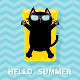 Black cat floating on yellow air pool water mattress. Cute cartoon relaxing character. Sunglasses. Hello Summer. Sea Ocean water w Royalty Free Stock Photos