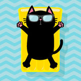 Black cat floating on yellow air pool water mattress. Cute cartoon relaxing character. Sunglasses. Summer time. Sea Ocean water wi Royalty Free Stock Photos