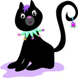 Black Cat with Flower Collar Stock Photography
