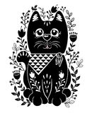 Folk set vector illustration with black cat and flowers. Black cat with flower vector design.Template for design notebook, cards, T-shirt, posters Royalty Free Stock Photo