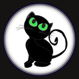 Black cat glowing eyes vector background Stock Image