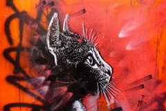 Black Cat Graffiti, London UK. Black cat graffiti art, Brick Lane, London, UK Royalty Free Stock Images