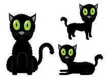 Black Cat with Green Eyes Stock Image
