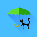 Black Cat and Green Umbrella Royalty Free Stock Images