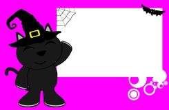 Black cat halloween cartoon kid background Royalty Free Stock Image