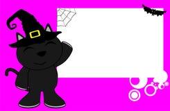 Black cat halloween cartoon kid background Royalty Free Stock Image