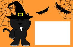 Black cat halloween cartoon kid background2 Royalty Free Stock Photos