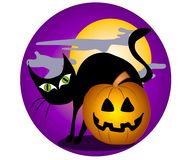 Black Cat Halloween Clip Art 2. A clip art illustration of a black cat with big green eyes, back arched in front of big full moon, jack o lantern pumpkin, creepy Stock Photos