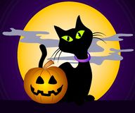 Black Cat Halloween Clip Art 3. A clip art illustration of a black cat with big green eyes, back arched in front of big full moon, creepy clouds and night sky Stock Image