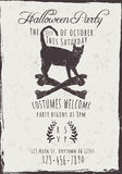 Black Cat Halloween Party Invitation. Vector Halloween Party Invitation with black cat and bones stock illustration