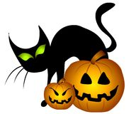 Black Cat Halloween Pumpkins Royalty Free Stock Photography