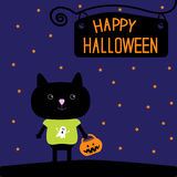 Black cat with Halloween trick or treat pumpkin bu Stock Images