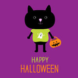 Black cat with Halloween trick or treat pumpkin bu Royalty Free Stock Photos