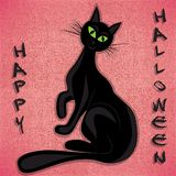 Black cat halloween vector illuatration Royalty Free Stock Image