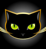 Black cat head. Golden and black cat head on black background Royalty Free Stock Image