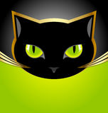 Black cat head. Golden and black cat head on black and green background Stock Image