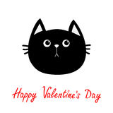 Black cat head icon. Cute funny cartoon character. Happy Valentines day red text. Greeting card. Sad emotion. Kitty Whisker Baby p. Et collection. White Royalty Free Stock Photography