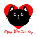 Black cat head icon. Red heart. Cute funny cartoon character. Happy Valentines day Greeting card. Sad emotion. Kitty Whisker Baby. Pet collection. White Royalty Free Stock Photo